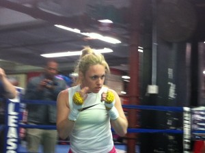 Heather Hardy shadow boxing.